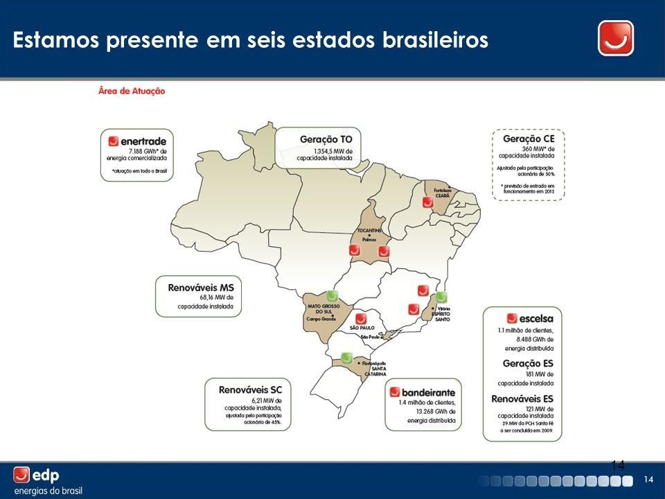 14 Estamos presente em seis estados brasileiros