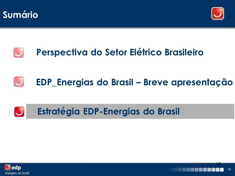16 Sumário EDP_Energias do Brasil – Breve apresentação Perspectiva do Setor Elétrico Brasileiro Estratégia EDP-Energias do Brasil