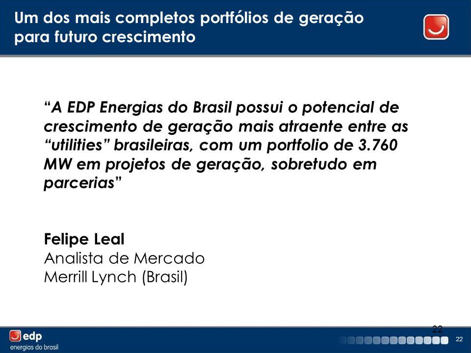 22 Um dos mais completos portfólios de geração para futuro crescimento A EDP Energias do Brasil possui o potencial de crescimento de geração mais atra