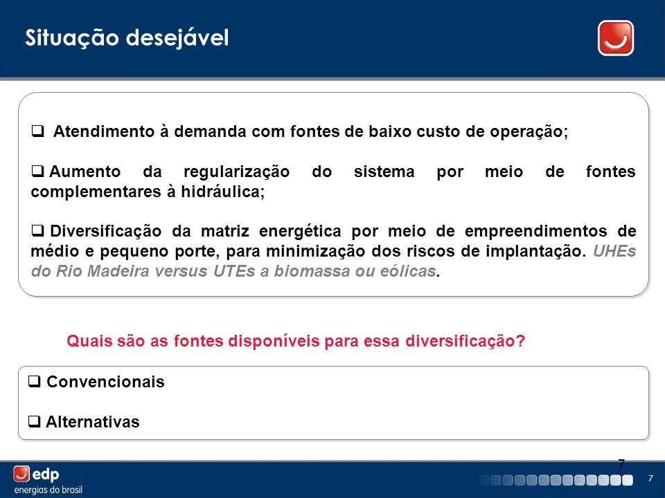 7 7 Atendimento à demanda com fontes de baixo custo de operação; Aumento da regularização do sistema por meio de fontes complementares à hidráulica; D
