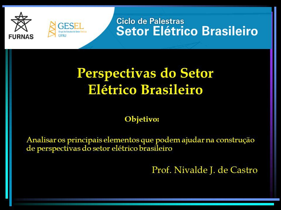 Perspectivas do Setor Elétrico Brasileiro Objetivo: Analisar os principais elementos que podem ajudar na construção de perspectivas do setor elétrico brasileiro Prof.