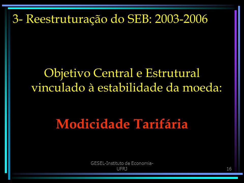 GESEL-Instituto de Economia- UFRJ16 3- Reestruturação do SEB: 2003-2006 Objetivo Central e Estrutural vinculado à estabilidade da moeda: Modicidade Tarifária