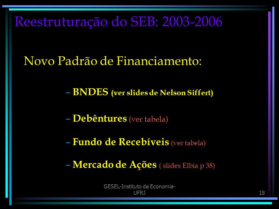 GESEL-Instituto de Economia- UFRJ18 Reestruturação do SEB: 2003-2006 Novo Padrão de Financiamento: – BNDES (ver slides de Nelson Siffert) – Debêntures (ver tabela) – Fundo de Recebíveis (ver tabela) – Mercado de Ações ( slides Elbia p 38)