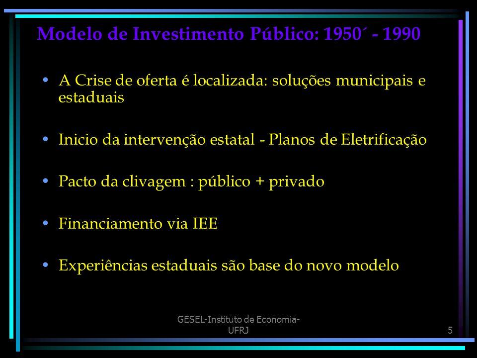 GESEL-Instituto de Economia- UFRJ5 Modelo de Investimento Público: 1950´ - 1990 A Crise de oferta é localizada: soluções municipais e estaduais Inicio da intervenção estatal - Planos de Eletrificação Pacto da clivagem : público + privado Financiamento via IEE Experiências estaduais são base do novo modelo