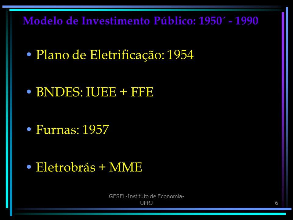 GESEL-Instituto de Economia- UFRJ6 Modelo de Investimento Público: 1950´ - 1990 Plano de Eletrificação: 1954 BNDES: IUEE + FFE Furnas: 1957 Eletrobrás + MME