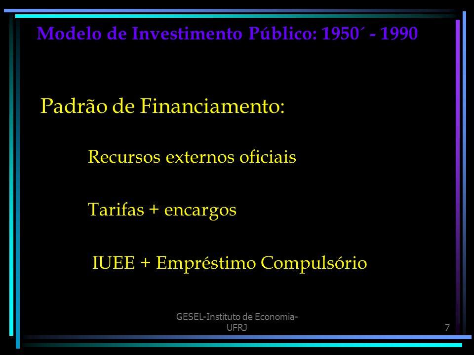 GESEL-Instituto de Economia- UFRJ7 Modelo de Investimento Público: 1950´ - 1990 Padrão de Financiamento: Recursos externos oficiais Tarifas + encargos IUEE + Empréstimo Compulsório