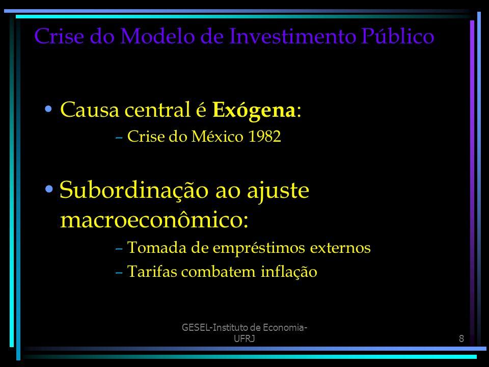 GESEL-Instituto de Economia- UFRJ8 Crise do Modelo de Investimento Público Causa central é Exógena : –Crise do México 1982 Subordinação ao ajuste macroeconômico: –Tomada de empréstimos externos –Tarifas combatem inflação