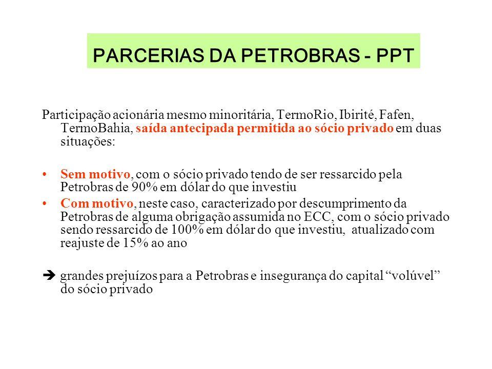 PARCERIAS DA PETROBRAS - PPT Participação acionária mesmo minoritária, TermoRio, Ibirité, Fafen, TermoBahia, saída antecipada permitida ao sócio privado em duas situações: Sem motivo, com o sócio privado tendo de ser ressarcido pela Petrobras de 90% em dólar do que investiu Com motivo, neste caso, caracterizado por descumprimento da Petrobras de alguma obrigação assumida no ECC, com o sócio privado sendo ressarcido de 100% em dólar do que investiu, atualizado com reajuste de 15% ao ano grandes prejuízos para a Petrobras e insegurança do capital volúvel do sócio privado