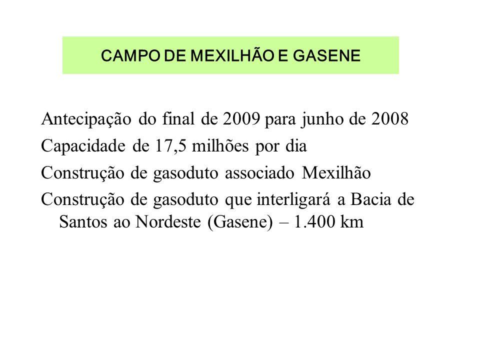 CAMPO DE MEXILHÃO E GASENE Antecipação do final de 2009 para junho de 2008 Capacidade de 17,5 milhões por dia Construção de gasoduto associado Mexilhão Construção de gasoduto que interligará a Bacia de Santos ao Nordeste (Gasene) – 1.400 km