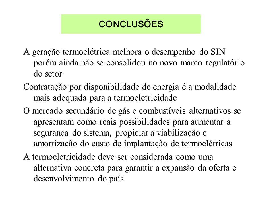A geração termoelétrica melhora o desempenho do SIN porém ainda não se consolidou no novo marco regulatório do setor Contratação por disponibilidade d