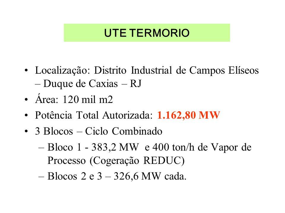 Localização: Distrito Industrial de Campos Elíseos – Duque de Caxias – RJ Área: 120 mil m2 Potência Total Autorizada: 1.162,80 MW 3 Blocos – Ciclo Com