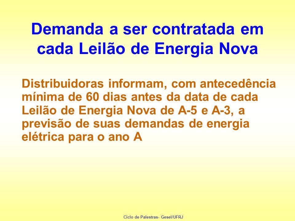 Demanda a ser contratada em cada Leilão de Energia Nova Distribuidoras informam, com antecedência mínima de 60 dias antes da data de cada Leilão de En
