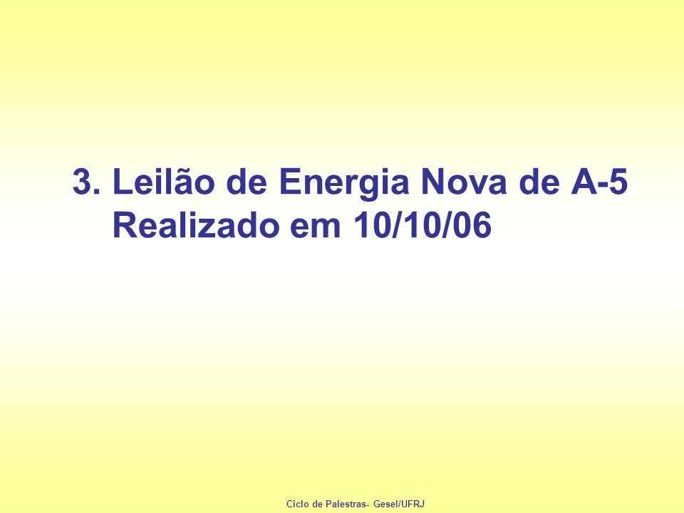 3. Leilão de Energia Nova de A-5 Realizado em 10/10/06 Ciclo de Palestras- Gesel/UFRJ