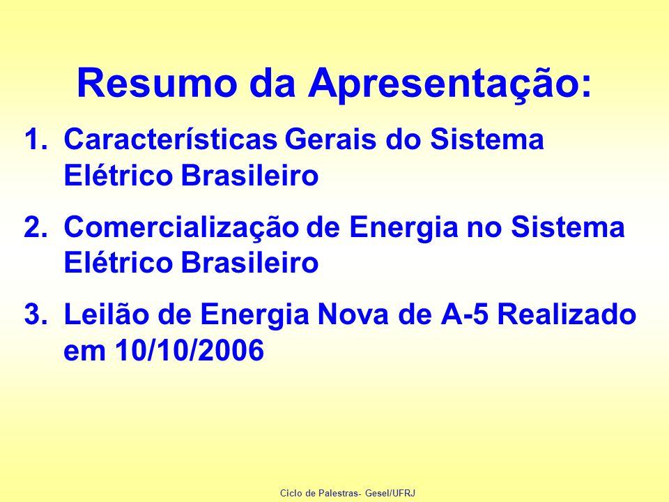 1.Características Gerais do Sistema Elétrico Brasileiro 2.Comercialização de Energia no Sistema Elétrico Brasileiro 3.Leilão de Energia Nova de A-5 Re