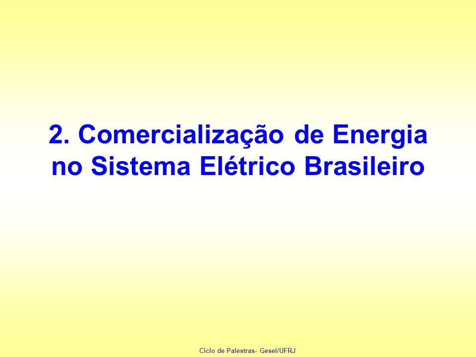 OPERAÇÃO DO SISTEMA / COMERCIALIZAÇÃO GERADORAS ONS DISTRIBUIDORAS CONSUMIDORES FINAIS CCEE $ Controle Contratos financeiros Contabilização dos desvios ANEEL - Regulamentação e fiscalização - Reajustes e revisões de tarifas ENERGIAENERGIA ENERGIAENERGIA Ciclo de Palestras- Gesel/UFRJ
