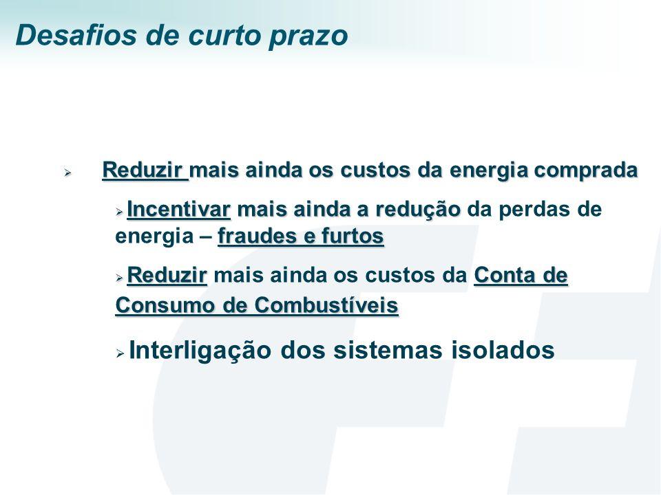 Desafios de curto prazo Reduzir mais ainda os custos da energia comprada Reduzir mais ainda os custos da energia comprada Incentivar mais ainda a redu