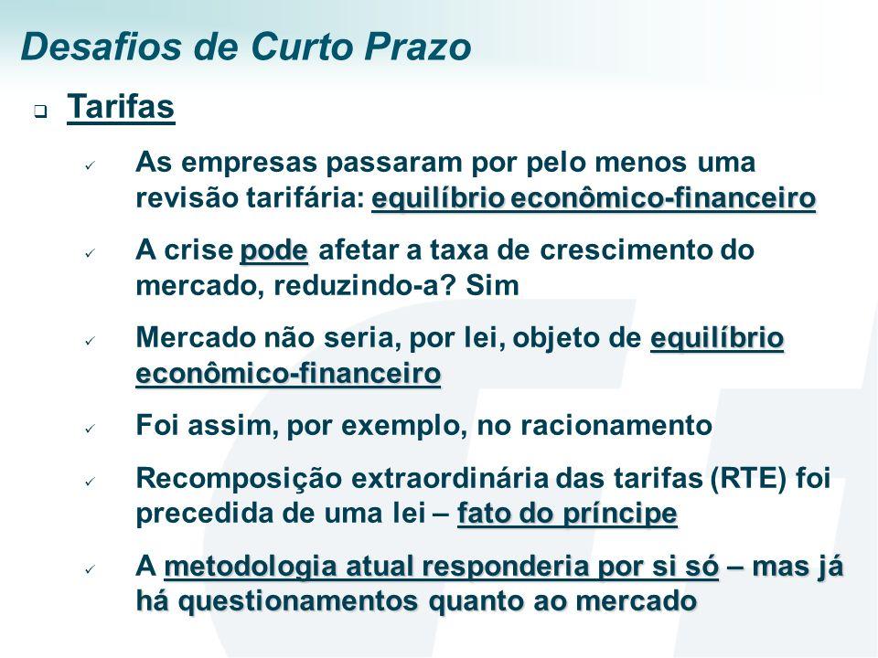 Desafios de Curto Prazo Tarifas equilíbrio econômico-financeiro As empresas passaram por pelo menos uma revisão tarifária: equilíbrio econômico-financ