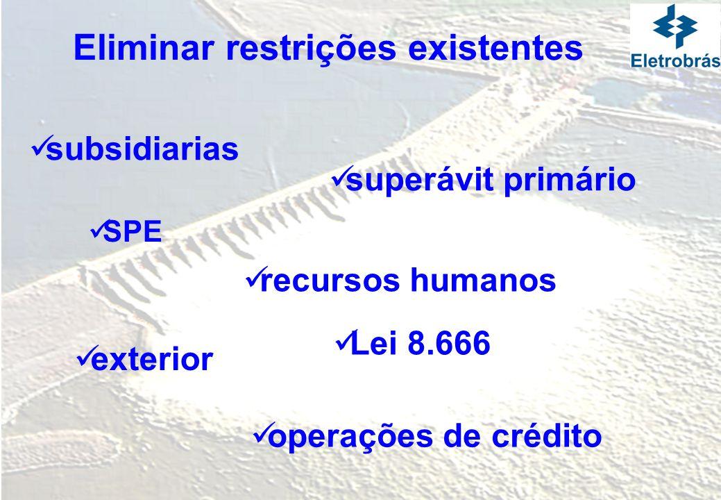 Eliminar restrições existentes superávit primário operações de crédito SPE Lei 8.666 subsidiarias exterior recursos humanos