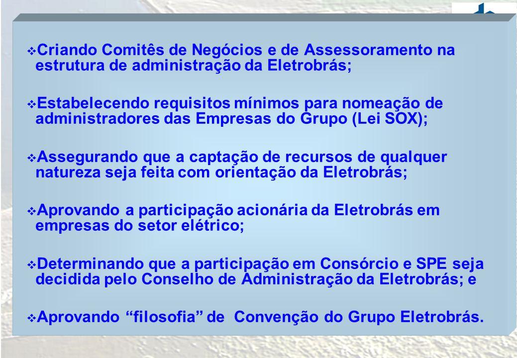 Criando Comitês de Negócios e de Assessoramento na estrutura de administração da Eletrobrás; Estabelecendo requisitos mínimos para nomeação de adminis