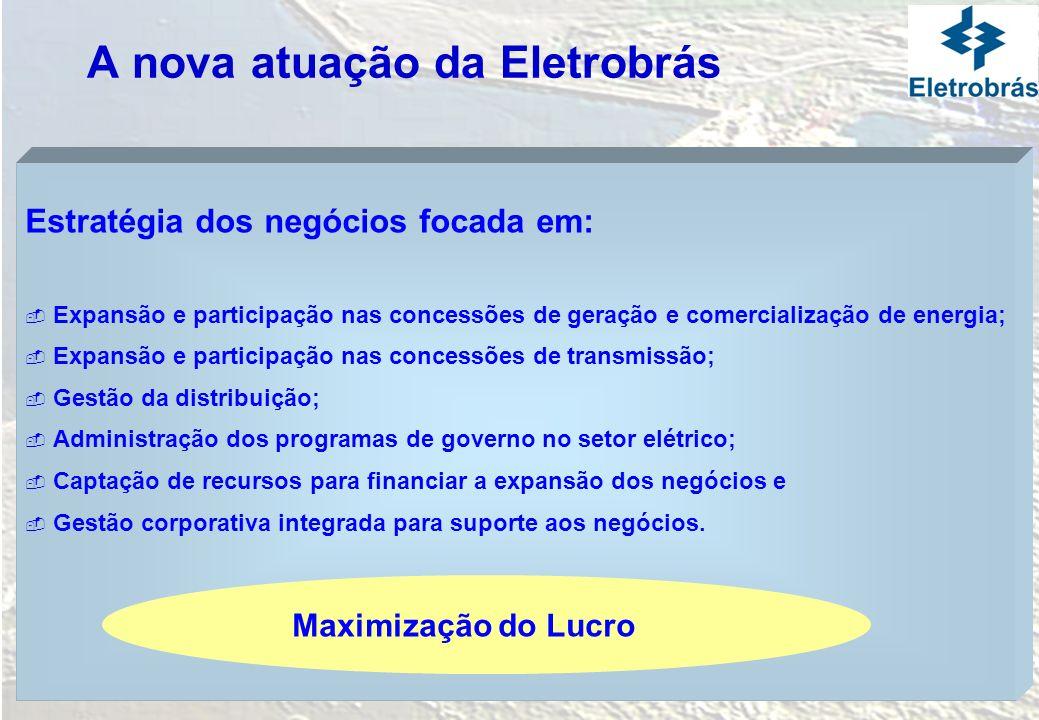 A nova atuação da Eletrobrás Estratégia dos negócios focada em: Expansão e participação nas concessões de geração e comercialização de energia; Expans