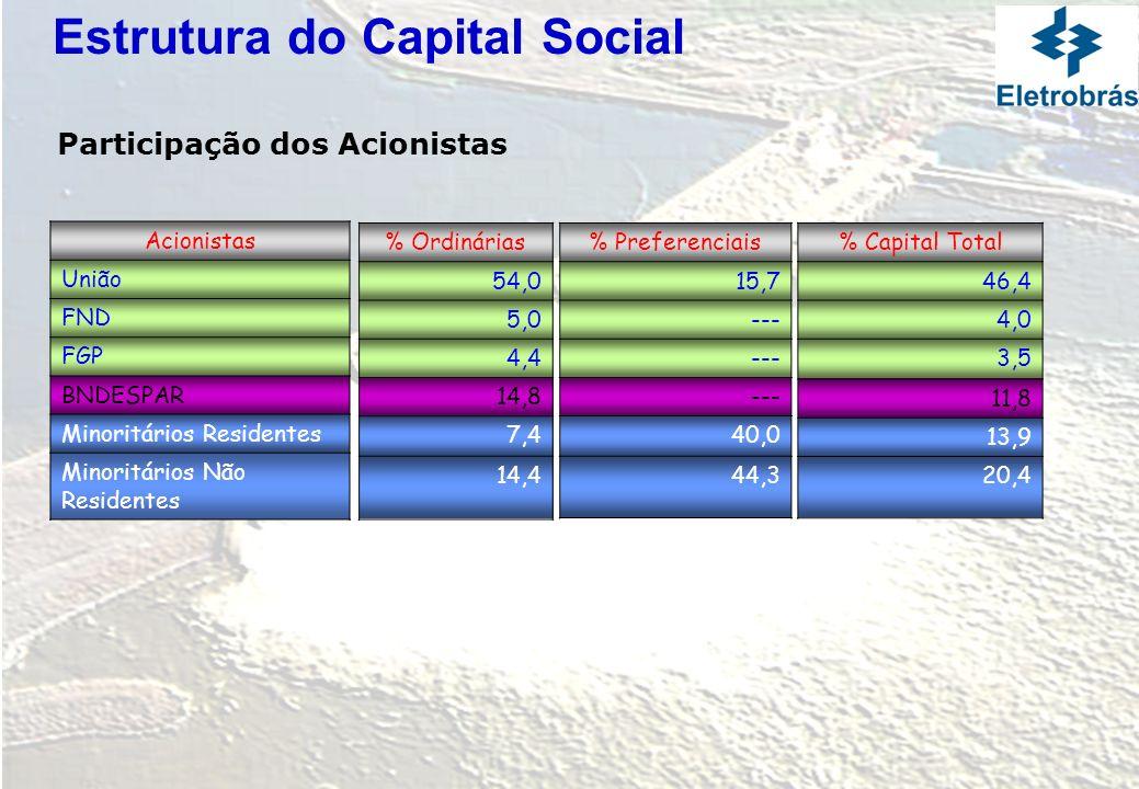 % Ordinárias 54,0 5,0 4,4 14,8 7,4 14,4 % Preferenciais 15,7 --- 40,0 44,3 % Capital Total 46,4 4,0 3,5 11,8 13,9 20,4 Acionistas União FND FGP BNDESP