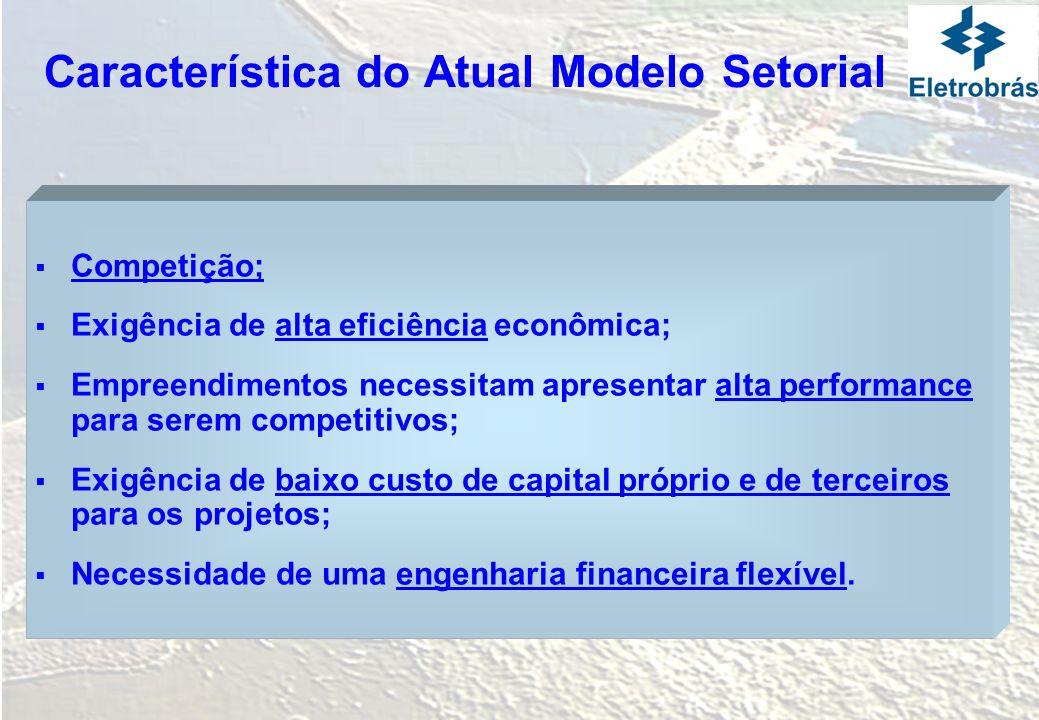 Característica do Atual Modelo Setorial Competição; Exigência de alta eficiência econômica; Empreendimentos necessitam apresentar alta performance par