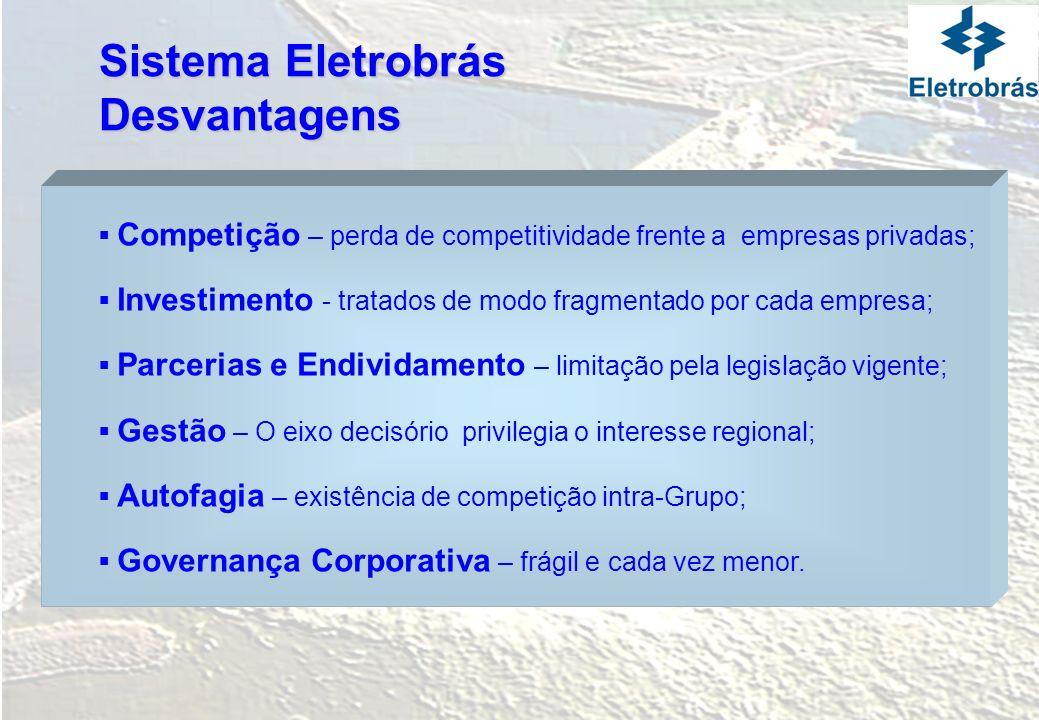 Sistema Eletrobrás Visão 2015 Capacidade de Investimento do Sistema Eletrobrás no contexto do Plano Decenal do Setor Elétrico Brasileiro no cenário de mudanças de Governança da empresa e de eliminação das restrições existentes.