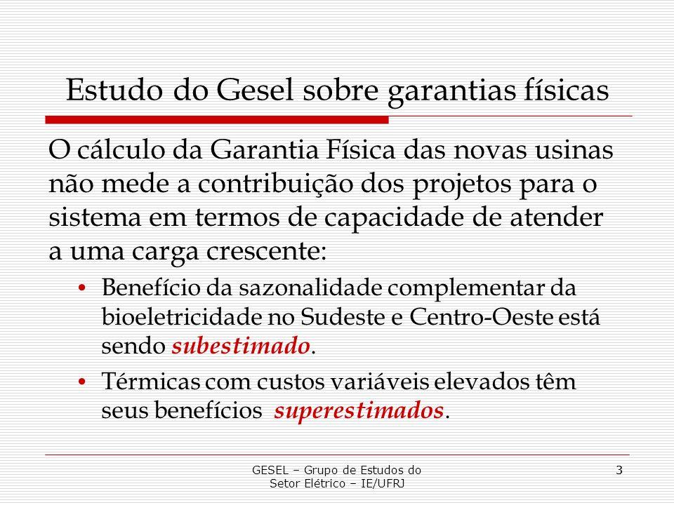 4 Estudo do Gesel sobre garantias físicas: experimente realizado A garantia física de vários projetos foi calculada pela a metodologia oficial e pelo ganho que a usina proporciona ao sistema.