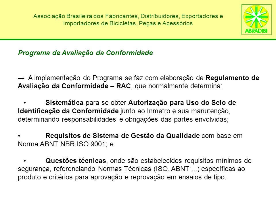 Programa de Avaliação da Conformidade A implementação do Programa se faz com elaboração de Regulamento de Avaliação da Conformidade – RAC, que normalm