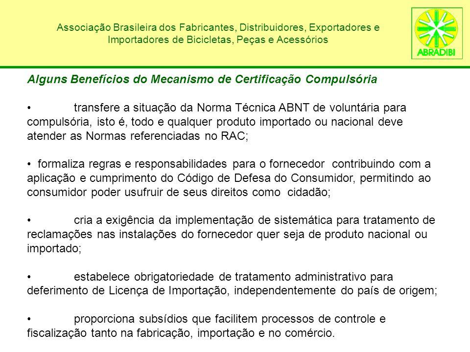 Associação Brasileira dos Fabricantes, Distribuidores, Exportadores e Importadores de Bicicletas, Peças e Acessórios Portarias INMETRO / MDIC e Normas ABNT NBR - Componentes de Bicicletas de Uso Adulto - PortariaComponenteNorma 342/08 Pneu 13585:2008 283/09 Câmara de Ar 15557:2008 284/09 Cordoalha 9295:1986 285/09 Niple 8692:2002 286/09 Conjunto de Freio 14868:2002 287/09 Conjunto Quadro e Garfo 14714:2001 288/09 Pedal e Pedivela 15444:2006 289/09 Aro 14732:2001 290/09 Conjunto de Direção (Guidão e Suporte) 14731:2001 291/09 Raio 8024:2002 A publicação de um RAC ocorre mediante emissão de Portaria, que possui caráter legislativo, tornando seu cumprimento obrigatório