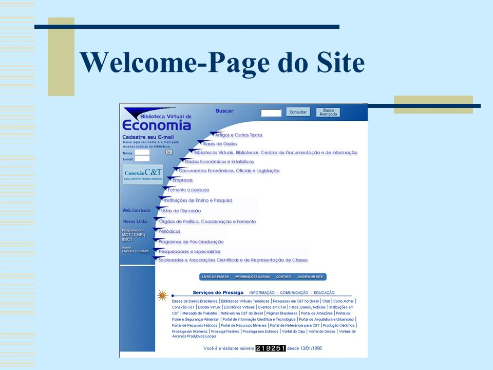 Welcome-Page do Site