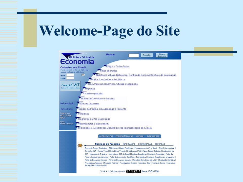 Estrutura da Biblioteca Dividida em 13 categorias Alimentação do site feita através de banco de dados: utilização de termos livres padronizados como ferramenta de classificação de novos registros