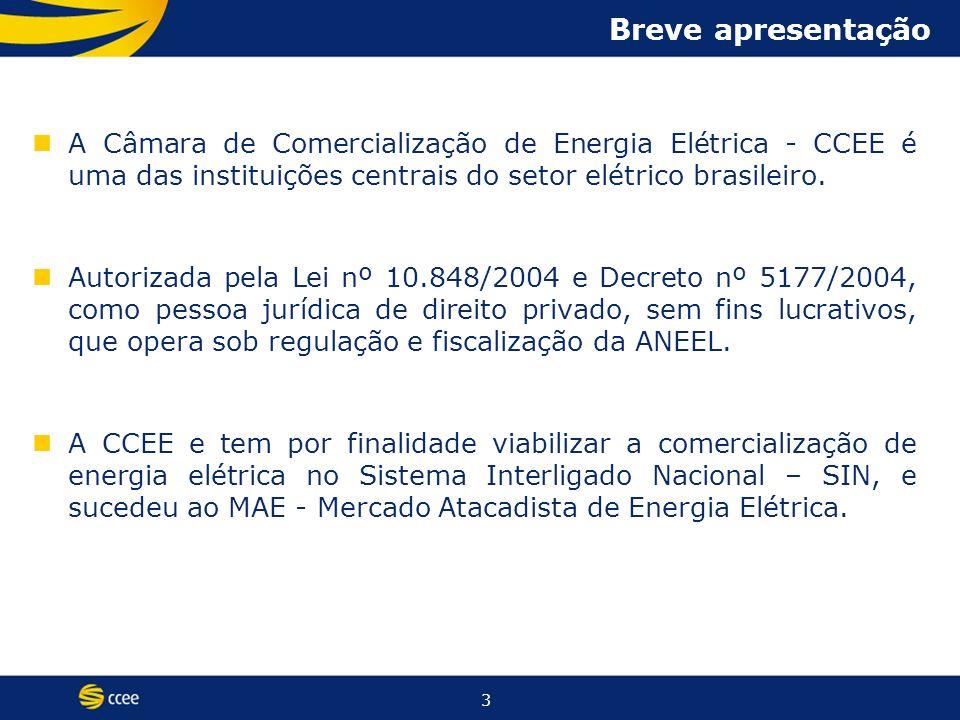 3 Breve apresentação A Câmara de Comercialização de Energia Elétrica - CCEE é uma das instituições centrais do setor elétrico brasileiro.