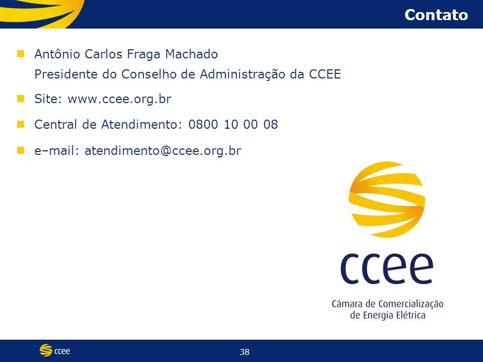 38 Contato Antônio Carlos Fraga Machado Presidente do Conselho de Administração da CCEE Site: www.ccee.org.br Central de Atendimento: 0800 10 00 08 e–mail: atendimento@ccee.org.br