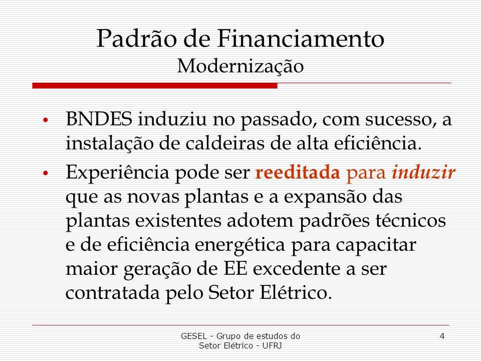 GESEL - Grupo de estudos do Setor Elétrico - UFRJ 4 Padrão de Financiamento Modernização BNDES induziu no passado, com sucesso, a instalação de caldeiras de alta eficiência.