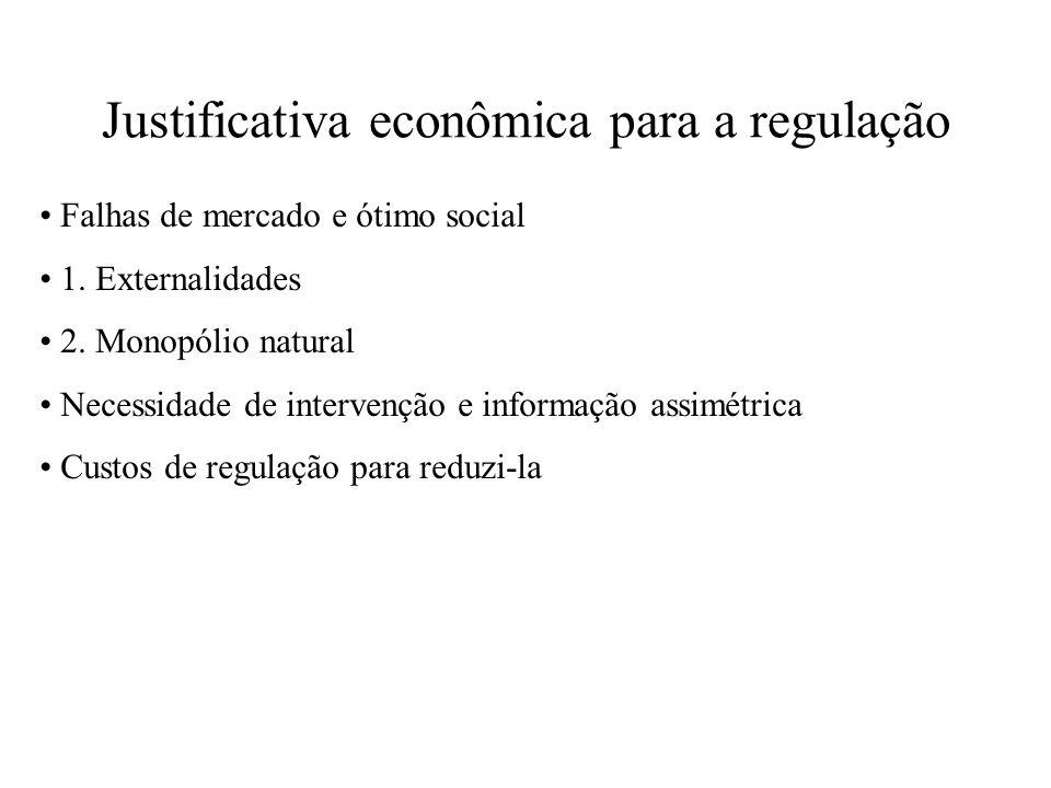 Justificativa econômica para a regulação Falhas de mercado e ótimo social 1. Externalidades 2. Monopólio natural Necessidade de intervenção e informaç