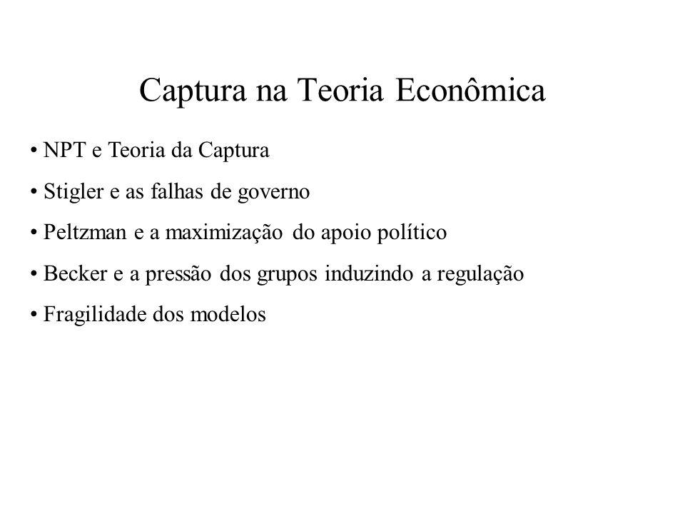 Captura na Teoria Econômica NPT e Teoria da Captura Stigler e as falhas de governo Peltzman e a maximização do apoio político Becker e a pressão dos g