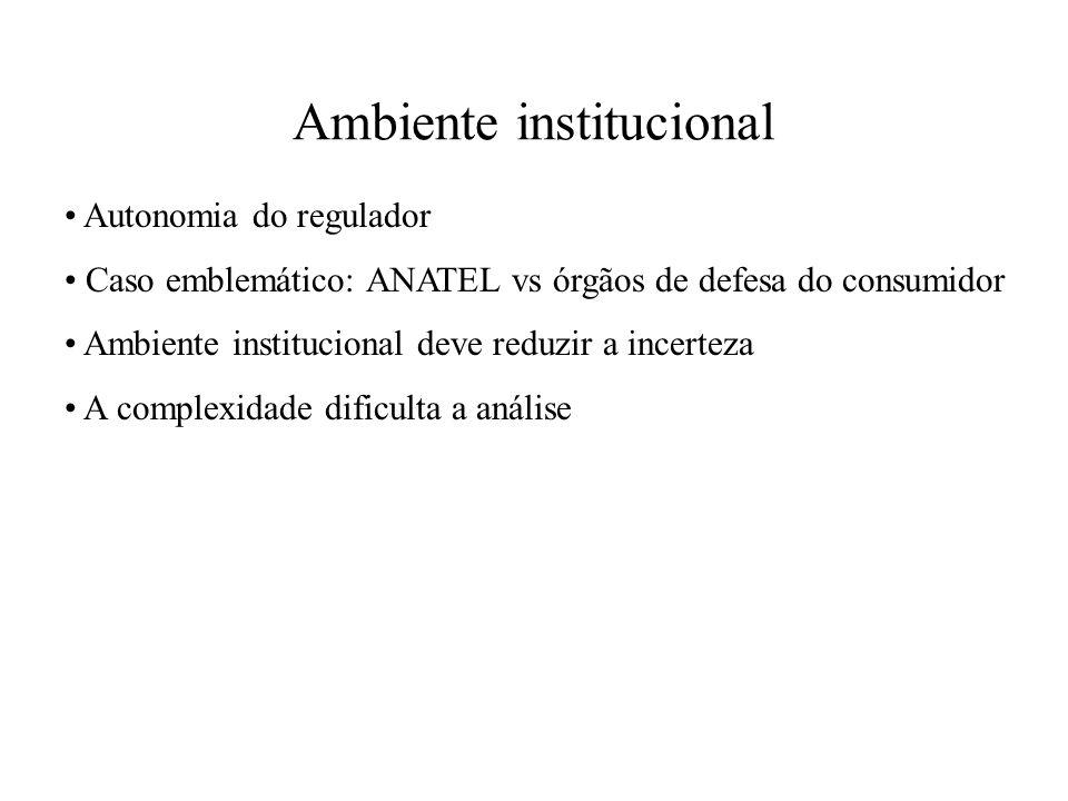 Ambiente institucional Autonomia do regulador Caso emblemático: ANATEL vs órgãos de defesa do consumidor Ambiente institucional deve reduzir a incerte