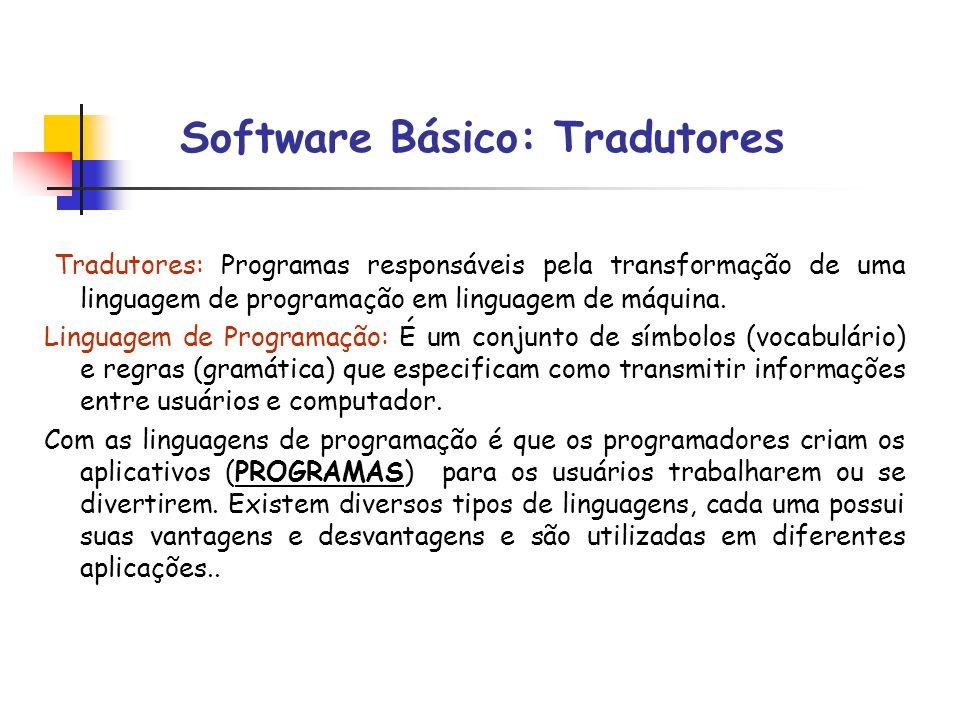 Software Básico: Tradutores Tradutores: Programas responsáveis pela transformação de uma linguagem de programação em linguagem de máquina. Linguagem d