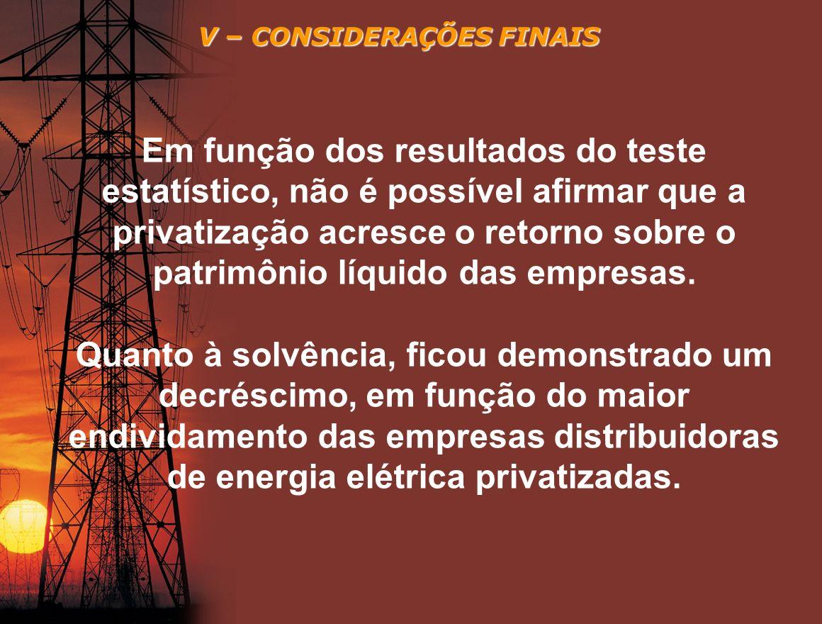 V – CONSIDERAÇÕES FINAIS Em função dos resultados do teste estatístico, não é possível afirmar que a privatização acresce o retorno sobre o patrimônio