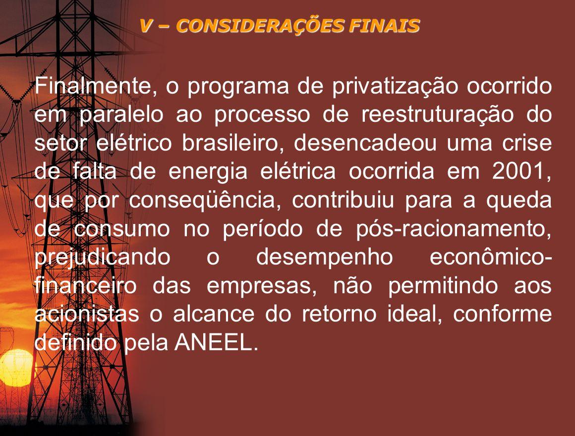 V – CONSIDERAÇÕES FINAIS Finalmente, o programa de privatização ocorrido em paralelo ao processo de reestruturação do setor elétrico brasileiro, desen