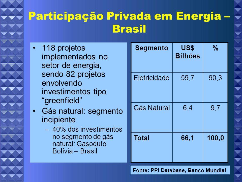 Participação Privada em Energia – Brasil 118 projetos implementados no setor de energia, sendo 82 projetos envolvendo investimentos tipo greenfield Gás natural: segmento incipiente –40% dos investimentos no segmento de gás natural: Gasoduto Bolívia – Brasil SegmentoUS$ Bilhões % Eletricidade59,790,3 Gás Natural6,49,7 Total66,1100,0 Fonte: PPI Database, Banco Mundial
