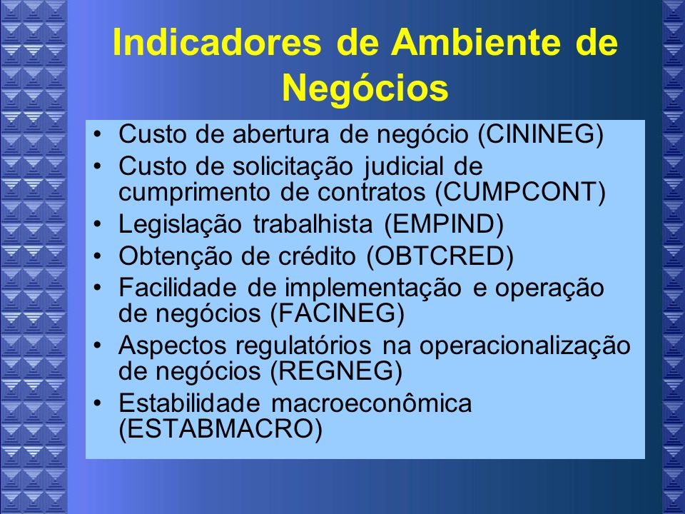 Indicadores de Ambiente de Negócios Custo de abertura de negócio (CININEG) Custo de solicitação judicial de cumprimento de contratos (CUMPCONT) Legislação trabalhista (EMPIND) Obtenção de crédito (OBTCRED) Facilidade de implementação e operação de negócios (FACINEG) Aspectos regulatórios na operacionalização de negócios (REGNEG) Estabilidade macroeconômica (ESTABMACRO)