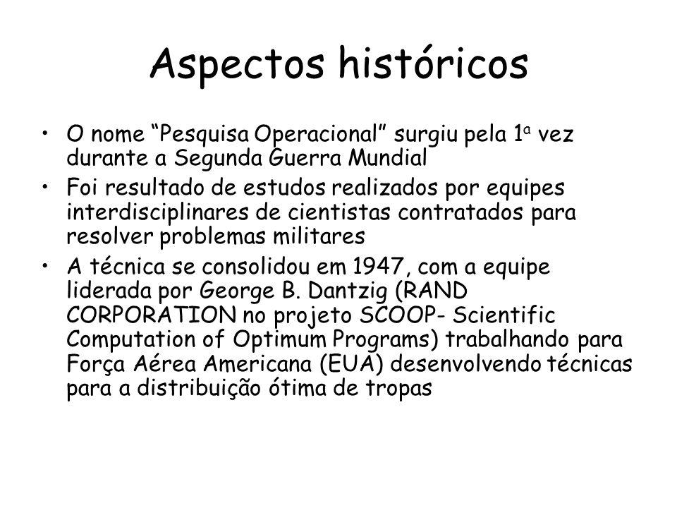 Aspectos históricos O nome Pesquisa Operacional surgiu pela 1 a vez durante a Segunda Guerra Mundial Foi resultado de estudos realizados por equipes i