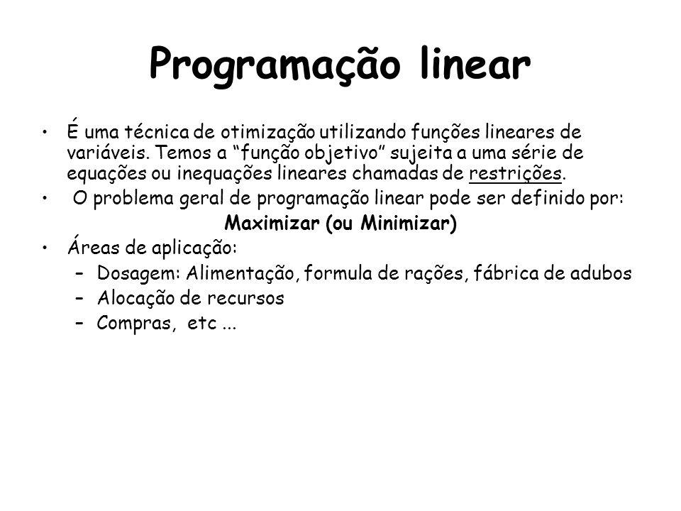 Programação linear É uma técnica de otimização utilizando funções lineares de variáveis. Temos a função objetivo sujeita a uma série de equações ou in