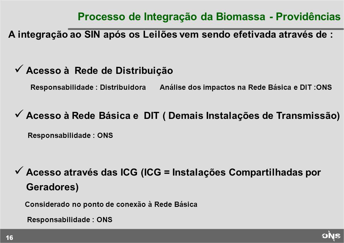 16 Processo de Integração da Biomassa - Providências A integração ao SIN após os Leilões vem sendo efetivada através de : Acesso à Rede de Distribuiçã