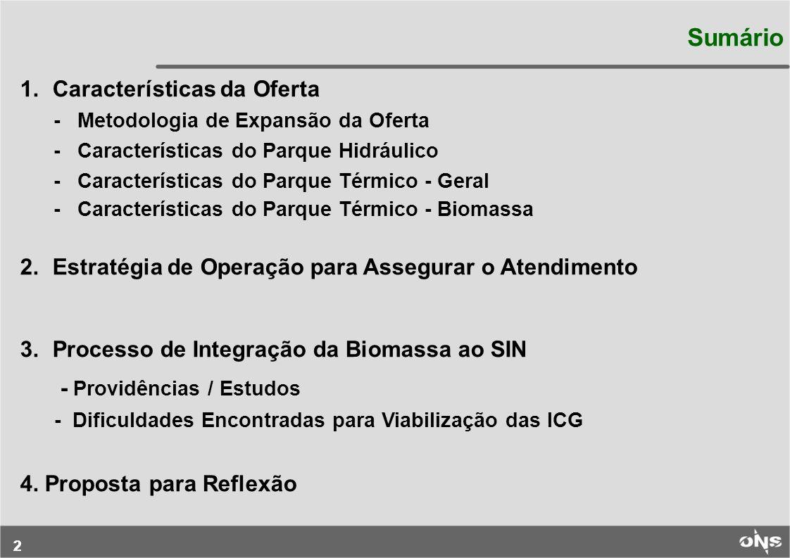 22 Sumário 1. Características da Oferta - Metodologia de Expansão da Oferta - Características do Parque Hidráulico - Características do Parque Térmico