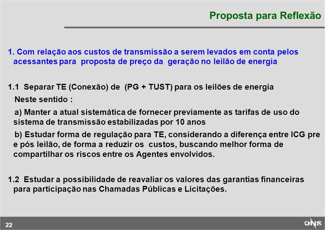 22 Proposta para Reflexão 1. Com relação aos custos de transmissão a serem levados em conta pelos acessantes para proposta de preço da geração no leil