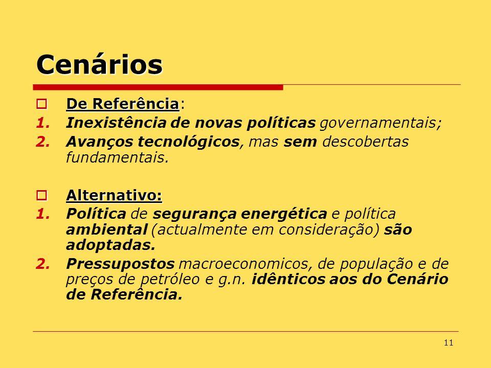 11 Cenários De Referência De Referência: 1.Inexistência de novas políticas governamentais; 2.Avanços tecnológicos, mas sem descobertas fundamentais. A