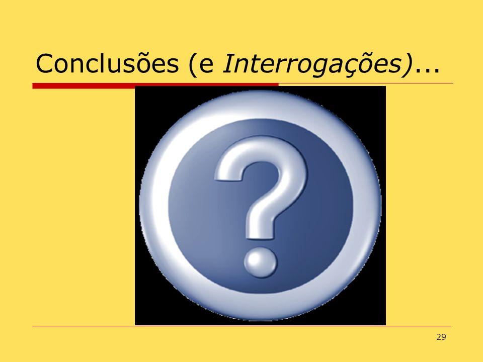 29 Conclusões (e Interrogações)...